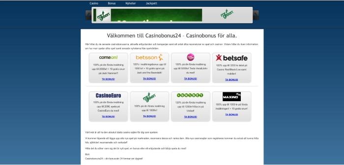 Casinobonus24.se hemsida 2012