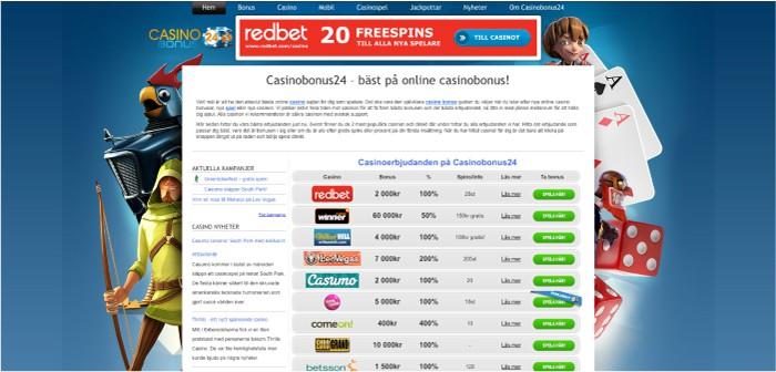 Casinobonus24.se hemsida 2013